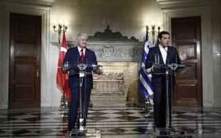 Ο πρωθυπουργός Αλέξης Τσίπρας (Δ) και ο πρωθυπουργό της Τουρκίας Binali Yildirim (Α), παίρνουν μέρος σε συνέντευξη τύπου, μετά την συνάντησή τους στο Μέγαρο Μαξίμου, Αθήνα Δευτέρα 19 Ιουνίου 2017. ΑΠΕ-ΜΠΕ/ΑΠΕ-ΜΠΕ/ΓΙΑΝΝΗΣ ΚΟΛΕΣΙΔΗΣ