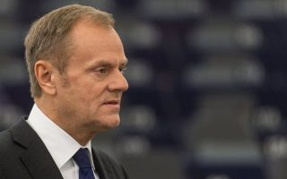 epa06442700 The President of the European Council, Donald Tusk, delivers his speech at the European Parliament in Strasbourg, France, 16 January 2018 during the debate about the EU summit and Brexit. Media reports state that Tusk and European Commission president Jean-Claude Juncker stressed that the EU's doors and hearts were open in case Britain might change its mind on leaving the European Union, dubbed the 'Brexit'.  EPA/PATRICK SEEGER