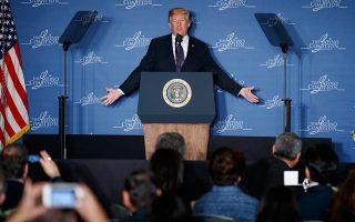 Ομιλία στην Ενωση Ισπανόφωνων Επιχειρηματιών εκφώνησε χθες ο πρόεδρος Ντόναλντ Τραμπ.