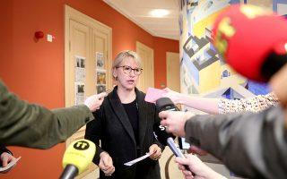 H υπουργός Εξωτερικών της Σουηδίας Μάργκοτ Βαλστρομ μετά τη συνάντηση με τον Βορειοκορεάτη ομόλογό της.