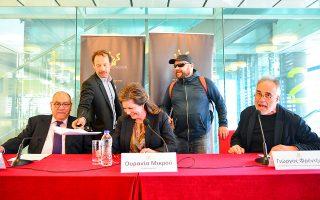 Γιώργος Πυρπασόπουλος και Μάκης Παπαδημητρίου «εισβάλλουν» στη συνέντευξη Τύπου στη Στέγη, όπου ανακοινώθηκαν οι υποψηφιότητες των κινηματογραφικών βραβείων «Ιρις».