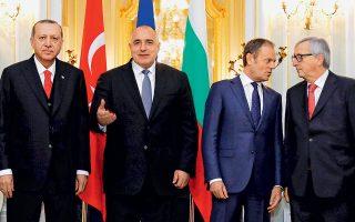 Ταγίπ Ερντογάν, Μπόικο Μπορίσοφ, Ντόναλντ Τουσκ και Ζαν-Κλοντ Γιούνκερ, σε αναμνηστική φωτογραφία, στη χθεσινή Σύνοδο Κορυφής της Βάρνας.