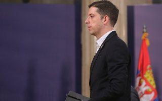 Ο επικεφαλής του γραφείου της σερβικής κυβέρνησης για το Κόσοβο, Μάρκο Τζούριτς, μετά τη χθεσινή συνέντευξη Τύπου στο Βελιγράδι.