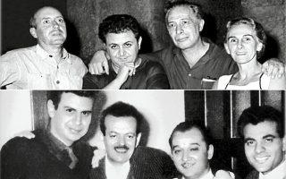 Επάνω, Γιάννης Τσαρούχης, Μάνος Χατζιδάκις, Κάρολος Κουν, Ραλλού Μάνου. Κάτω, Μίκης Θεοδωράκης, Βασίλης Τσιτσάνης, Μανώλης Χιώτης, Στέλιος Καζαντζίδης.
