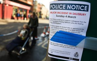 epa06614478 A police notice in Salisbury, Wiltshire, Britain, 19 March 2018. International chemical weapons inspectors are expected to arrive in Britain and visit Porton Down on 19 March. Russian ex-spy Sergei Skripal and his daughter were attacked with a nerve agent on 04 March 2018.  EPA/ANDY RAIN