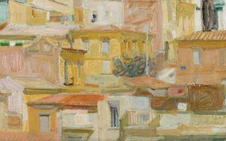 Παναγιώτης Τέτσης, «Τοπίο της Αθήνας», 1960. Ελαιογραφία σε καμβά.