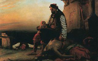 «Σύγχρονο ελληνικό θέμα εμπνευσμένο από τη σφαγή της Σαμοθράκης». Ελαιογραφία του Ζαν-Μπατίστ Βενσόν (1789-1855). Μουσείο Λούβρου, Παρίσι.