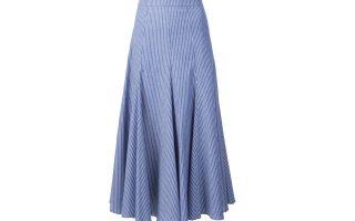 Μίντι μπλε φούστα με λευκές ρίγες €172,00