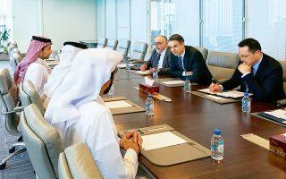 Ο Κυρ. Μητσοτάκης κατά τη χθεσινή συνάντηση με τον εμίρη Σεΐχ Ταμίμ Μπιν Χαμάντ Αλ Θάνι, στο Κατάρ.