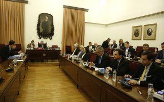 Συνεδρίαση της Ειδικής Κοινοβουλευτικής Επιτροπής «Για τη διενέργεια Προκαταρκτικής Εξέτασης σύμφωνα με την απόφαση της Ολομέλειας της Βουλής που λήφθηκε κατά τη συνεδρίαση της 21ης Φεβρουάριου 2018 σχετικά με την υπόθεση NOVARTIS» προκειμένου ο βουλευτής της ΔΗΣΥ Ευάγγελος Βενιζέλος να παρέχει εξηγήσεις επί τη βάσει της παραγράφου 4 του άρθρου 156 του Κανονισμού της Βουλής και του υπ.' αρ. πρωτ.1/5.3.2018 εγγράφου αιτήματός του, σε αίθουσα της Βουλής, Τρίτη 13 Μαρτίου 2018.  ΑΠΕ-ΜΠΕ/ΑΠΕ-ΜΠΕ/ΑΛΕΞΑΝΔΡΟΣ ΒΛΑΧΟΣ