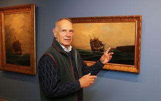 Ο υποναύαρχος ε.α. και ζωγράφος Αρ. Δήμιτσας μας εξηγεί τη φορά του ανέμου και τον «καιρό» που επικρατούν στον πίνακα «Φρεγάτα», 1899-90.