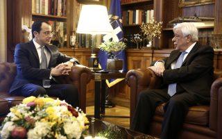 Ο Πρόεδρος της Δημοκρατίας Προκόπης Παυλόπουλος (Δ) συνομιλεί με το νέο υπουργό Εξωτερικών της Κυπριακής Δημοκρατίας Νίκο Χριστοδουλίδη (Α) κατά τη διάρκεια  συνάντησής τους, στο Προεδρικό Μέγαρο, στην Αθήνα, Τρίτη 06 Μαρτίου 2018. ΑΠΕ-ΜΠΕ/ΑΠΕ-ΜΠΕ/ΑΛΕΞΑΝΔΡΟΣ ΒΛΑΧΟΣ
