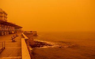 Αφρικανική σκόνη στην πόλη του Ηρακλείου, Πέμπτη 22/3/2018. (EUROKINISSI/ΣΤΕΦΑΝΟΣ ΡΑΠΑΝΗΣ)