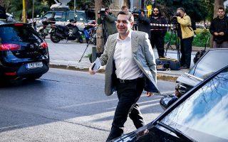 Ο πρωθυπουργός προσέρχεται στη συνεδρίαση του πολιτικού συμβου-λίου, στα γραφεία του ΣΥΡΙΖΑ, στην Κουμουνδούρου.