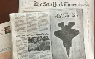 Η καταχώριση στους New York Times κατά της πώλησης των F-35 στην Τουρκία.