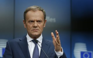 European Council President Donald Tusk holds a news conference at a  European Union leaders summit in Brussels, Belgium, March 23, 2018. REUTERS/Francois Lenoir