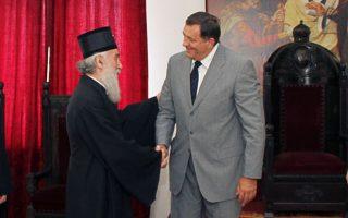 Ο Μίλοραντ Ντόντικ σε πρόσφατη συνάντησή του με τον Πατριάρχη της Σερβίας Ειρηναίο στο Βελιγράδι.