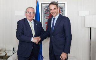Ο πρόεδρος της Ν.Δ. Κυρ. Μητσοτάκης ζήτησε από τον κ. Γιούνκερ να προχωρήσει η διευθέτηση του χρέους χωρίς προϋποθέσεις.