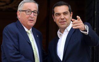Ο πρωθυπουργός Αλέξης Τσίπρας  υποδέχεται τον Πρόεδρο της ΕΕ Ζαν Κλώντ Γιούνγκερ στη συνάντηση τους στο Μέγαρο Μαξίμου, Αθήνα Πέμπτη 26 Απριλίου 2018. ΑΠΕ-ΜΠΕ/ΑΠΕ-ΜΠΕ/ΟΡΕΣΤΗΣ ΠΑΝΑΓΙΩΤΟΥ