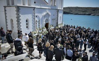 Κηδεία του επιχειρηματία Αλέξανδρου Σταματιάδη στην ¶νδρο την Κυριακή 22 Απριλίου 2018. Ο 52χρονος που κατέληξε έπειτα από 19 ημέρες νοσηλείας στη ΜΕΘ του Νοσοκομείου