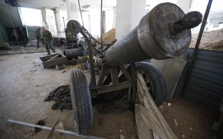 epa06673345 The so-called Hell Cannon that was allegedly used by Jaysh al-Islam to shell Damascus, in Douma city, Eastern Ghouta, the countryside of Damascus, Syria, 16 April 2018. According to media reports, the Syrian army had recently driven the rebel fighters of Jaysh al-Islam (Army of Islam) out of the city. Jaysh al-Islam had control over Douma for the past six years.  EPA/STR