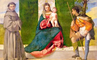 Tiziano, «Η Παρθένος και το Βρέφος ανάμεσα στον Αγιο Αντώνιο της Πάδοβας και τον Αγιο Ρόκο», 1508, Μουσείο Πράδο.