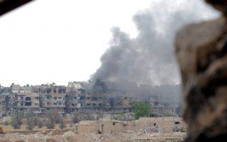 Φωτογραφία αρχείου από βομβαρδισμό στη νότια Δαμασκό από τον συριακό στρατό