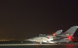 epa06667963 A handout photo made available by the British Ministry of Defence (MoD) showing two British Royal Air Force (RAF) Tornado taxing before take off at RAF Akrotiri, Cyprus, 14 April 2018 after conducting strikes in support of Operations over the Middle East.The MoD report that four RAF Tornado's took off on 14 April 2018 from RAF Akrotiri to conduct precision strikes on Syrian installations involved in the use of chemical weapons. The Tornados, flown by 31 Squadron the Goldstars, were supported by a Voyager aircraft. They launched Storm Shadow missiles at a military facility – a former missile base – some fifteen miles west of Homs, where the regime is assessed to keep chemical weapon precursors stockpiled in breach of Syria's obligations under the Chemical Weapons Convention.  Very careful scientific analysis was applied to determine where best to target the Storm Shadows to maximise the destruction of the stockpiled chemicals and to minimise any risks of contamination to the surrounding area.  The facility which was struck is located some distance from any known concentrations of civilian habitation, reducing yet further any such risk.  EPA/Cpl L MATTHEWS / BRITISH MINISTRY OF DEFENCE / HANDOUT MANDATORY CREDIT MOD: CROWN COPYRIGHT HANDOUT EDITORIAL USE ONLY/NO SALES