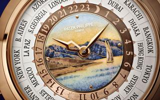 Λεπτομέρεια του ζωγραφισμένου με σμάλτο καντράν του World-Time-Minute-Repeater 5531R