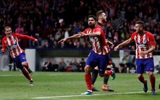 Ο Ντιέγκο Κόστα στο φινάλε του α΄ ημιχρόνου σκόραρε και με το γκολ αυτό η Ατλέτικο Μ. πήρε την πρόκριση με 1-0 για τον τελικό της Λυών στις 16 Μαΐου.