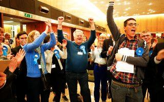 Υποστηρικτές των Συντηρητικών πανηγυρίζουν την παραμονή  του Γουόντσγουορθ υπό τον έλεγχο του κόμματος.