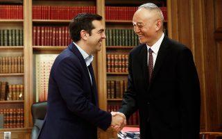 Ο πρωθυπουργός Αλ. Τσίπρας υποδέχθηκε, χθες, στο Μέγαρο Μαξίμου τον γενικό γραμματέα του Κ.Κ. Κίνας, κ. Cai Qi.