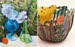 Εργα ζωγραφικής και κεραμικής από τη νέα έκθεση της Κατερίνας Γιάννακα.