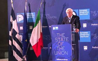Ο Προκόπης Παυλόπουλος στην ομιλία του στο Ευρωπαϊκό Πανεπιστημιακό Ινστιτούτο της Φλωρεντίας.