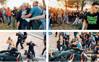 Ο δήμαρχος Θεσσαλονίκης δέχεται (1) το πρώτο σοβαρό χτύπημα από τον 20χρονο (2) που καταδικάσθηκε την Τετάρτη από δικαστήριο της Θεσσαλονίκης. Η καταδίωξή του κορυφώνεται στην προσπάθεια ενός άλλου νεαρού (3) να κλωτσήσει την πόρτα του συνοδηγού του αυτοκινήτου που κρατούν ο φρουρός του και η πρόεδρος του δημ. συμβουλίου, την ώρα που μια άλλη ομάδα κλωτσάει το πίσω παρμπρίζ (4) του αυτοκινήτου.