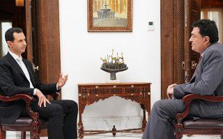 Ο πρόεδρος της Συρίας Μπασάρ αλ Ασαντ με τον διευθυντή της «Κ» Αλέξη Παπαχελά στη Δαμασκό. Κατά τη διάρκεια της συνέντευξης, ο κ. Ασαντ μίλησε για την κατάσταση στη χώρα του, τον ρόλο των ΗΠΑ, της Τουρκίας και της Ρωσίας, καθώς και για τις ανησυχίες του για το μέλλον.