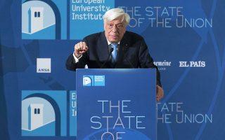 Ο Πρ. Παυλόπουλος κατά τη διάρκεια της χθεσινής ομιλίας του στην όγδοη ετήσια συνδιάσκεψη για την κατάσταση της Ε.Ε., η οποία διοργανώνεται από το Ευρωπαϊκό Πανεπιστημιακό Ινστιτούτο της Φλωρεντίας.