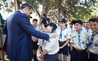 Ο πρόεδρος της Ν.Δ. Κυρ. Μητσοτάκης, κατά τη διάρκεια της χθεσινής επίσκεψής του στην Αλεξανδρούπολη.