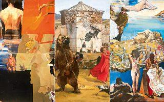 Εργα του Αλέκου Λεβίδη από την τρέχουσα έκθεση στην Γκαλερί Σκουφά. Τα περισσότερα είναι τετράγωνου σχήματος 36x36 και συμπληρώνουν τις μεγάλες θεματικές ενότητες και τις πλούσιες αναφορές του ζωγράφου.
