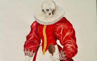 Το έργο (λεπτ.) του Νίκου Κιτμερίδη από την έκθεση «Skulligraphy» στην Art Zone 42.