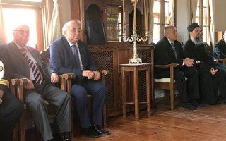 Ο πρωθυπουργός της Βουλγαρίας Μπόικο Μπορίσοφ στην αίθουσα της Ιεράς Επιστασίας του Αγίου Ορους, στις Καρυές.