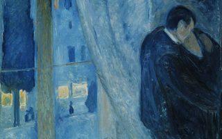 «Το φιλί πλάι στο παράθυρο», 1892. Εργο του Νορβηγού Εντβαρντ Μουνχ. Nasjonalgalleriet, Οσλο.