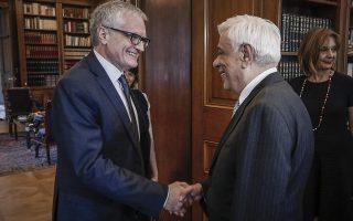 Συνέντηση του Προέδρου της Δημοκρατίας, Προκόπη Παυλόπουλου, με τον Πρόεδρο της Κοινοβουλευτικής Συνέλευσης του Συμβουλίου της Ευρώπης Michele Nicoletti, την Τρίτη 22 Μαΐου 2018.(EUROKINISSI/ΓΙΩΡΓΟΣ ΚΟΝΤΑΡΙΝΗΣ)