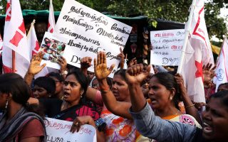 Women shout slogans during a protest against the government and police forces after at least nine people were killed when police fired at protesters calling for the closure of a Vedanta Resources-controlled copper smelter in Thootukudi, in southern Indian state of Tamil Nadu, in Chennai, India, May 22, 2018. REUTERS/P.Ravikumar