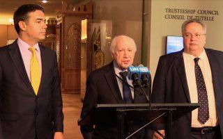 Ο απεσταλμένος του ΓΓ του ΟΗΕ Μάθιου Νίμιτς (Κ), κάνει δηλώσεις ενώ παρακολουθούν ο  υπουργός Εξωτερικών Νίκος Κοτζιάς (Δ)  και ο Σκοπιανός ομόλογος του Νίκολα Ντιμιτρόφ (Α) μετά το τέλος της συνάντησής τους, στην έδρα του ΟΗΕ στην Νέα Υόρκη, την  Παρασκευή 25 Μαΐου 2018. Ο Έλληνας ΥΠΕΞ με τον ομόλογό του της ΠΓΔΜ συνέχισαν και σήμερα τις διαβουλεύσεις για το ζήτημα της ονομασίας της γειτονικής χώρας. Οι συνομιλίες διεξάγονται στον 15ο όροφο του κτηρίου των Ηνωμένων Εθνών στη Νέα Υόρκη, παρουσία του ειδικού διαμεσολαβητή Μάθιου Νίμιτς. ΑΠΕ-ΜΠΕ/ΑΠΕ-ΜΠΕ/ΠΑΝΑΓΟΣ ΔΗΜΗΤΡΗΣ