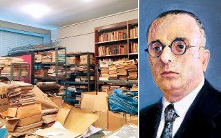 Η σημερινή κατάσταση της βιβλιοθήκης είναι αποκαρδιωτική. Δεξιά, ο αείμνηστος Δημήτριος Πουρνάρας.