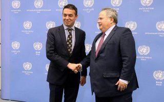 Το ερχόμενο Σάββατο οι υπουργοί Εξωτερικών της Ελλάδας και της ΠΓΔΜ, Νίκος Κοτζιάς και Νίκολα Ντιμιτρόφ, θα έχουν ευρεία συζήτηση υπό την αιγίδα του απεσταλμένου του γ.γ. του ΟΗΕ Μάθιου Νίμιτς.