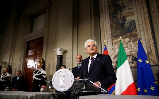 Italian President Sergio Mattarella speaks to media after a meeting with Italy's Prime Minister-designate Giuseppe Conte at the Quirinal Palace in Rome, Italy, May 27, 2018.  REUTERS/Alessandro Bianchi?