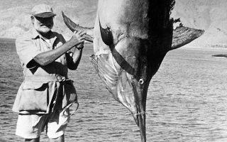 Ο σπουδαίος Αμερικανός συγγραφέας Έρνεστ Χέμινγουεϊ έχει μόλις ψαρέψει ένα γιγαντιαίο μαύρο μάρλιν (black marlin), μήκους μεγαλύτερου από τέσσερα μέτρα και βάρους περίπου 450 κιλών, κατά τη διάρκεια ενός ταξιδιού του στο Περού για ψάρεμα, το 1956. (AP Photo)