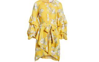 Κίτρινο φλοράλ φόρεμα με βολάν €53,23